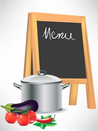 cooking book: menu blackboard and cooking pot with vegetables isolated Illustration