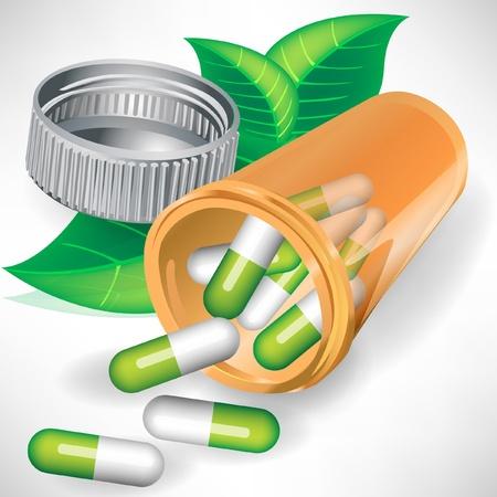 pastillas: Las p�ldoras naturales de la medicaci�n en una botella con hojas aisladas Vectores