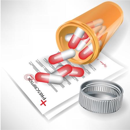 recetas medicas: p�ldoras derramado en botella de pl�stico con tapa n prescripci�n m�dica aislado en blanco