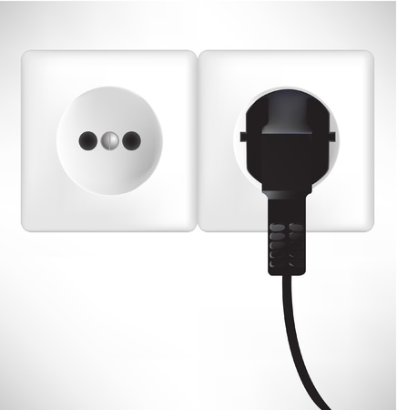 white power outlet and socket isolated on white Stock Vector - 10884737