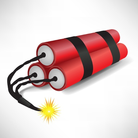 petardo: tres dinamitas explotando aisladas sobre fondo blanco Vectores