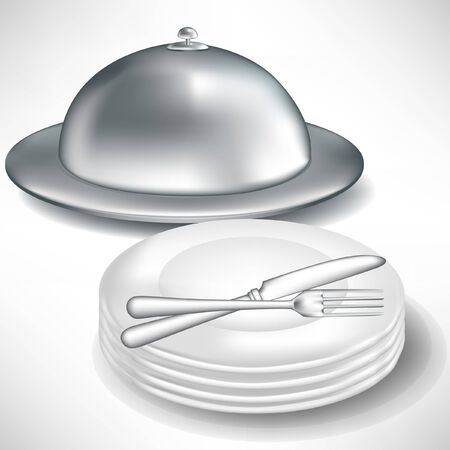 formal place setting: stainless catering tray and porcelain plates isolated Illustration