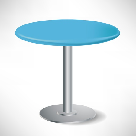 simple unoccupied round blue table with stainless metal leg isolated