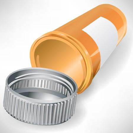 recetas medicas: recipiente vac�o frasco de p�ldoras aisladas sobre fondo blanco