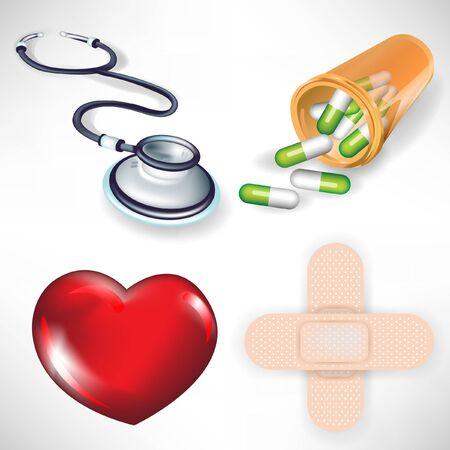 worktool: heart, stethoscope, bottle, plaster isolated on white background Illustration