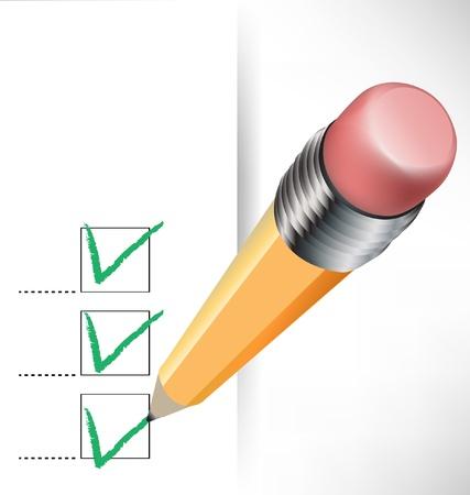 coincidir: lista de verificación de papel y lápiz sobre fondo blanco Vectores