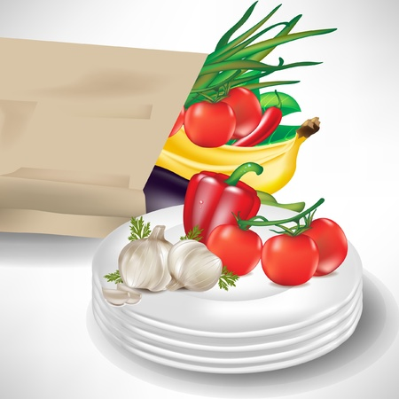 paper plates: grocery bag with fruits, vegetables and porcelain plates isolated