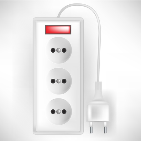 electric outlets with cable isolated on white Stock Vector - 10886652