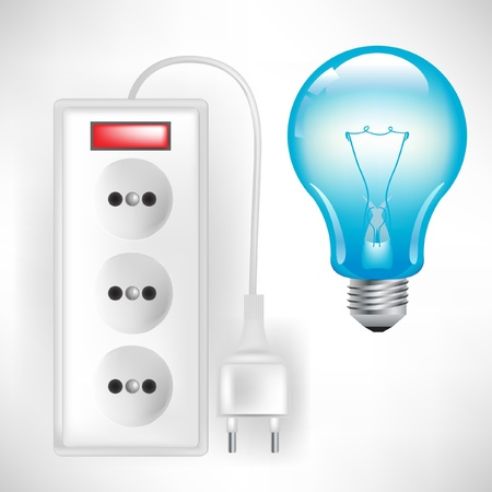 electric outlet with cable and light bulb isolated on white Vector