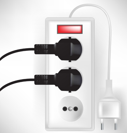 plugged: electric outlet power with two cables plugged isolated