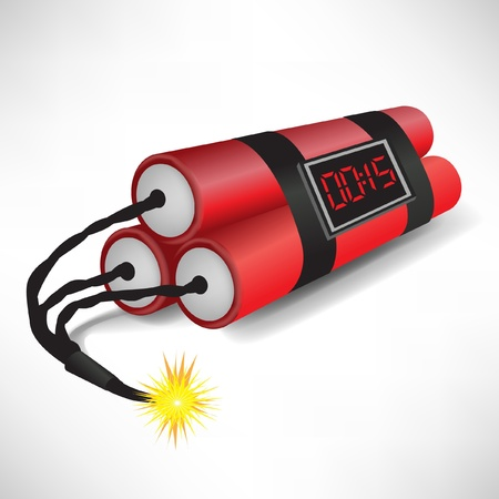 three dynamites with clock exploding on white background Vector