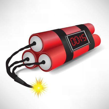 terrorists: tre dinamite con orologio che esplode su sfondo bianco