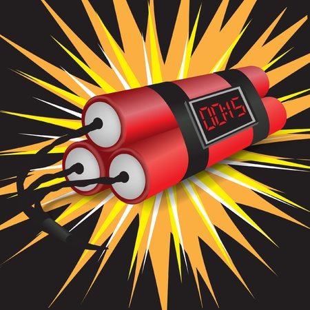 detonate: three dynamites with clock exploding on dark background