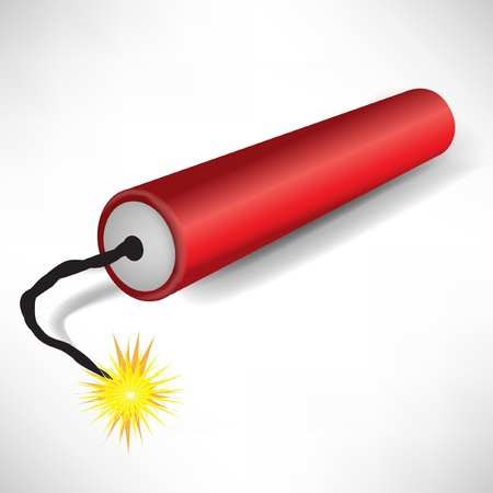 detonate: single exploding dynamite on white background