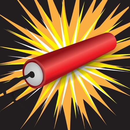bombe: la dynamite explose seule sur fond sombre Illustration
