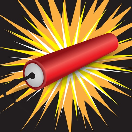 single dynamite exploding on dark background