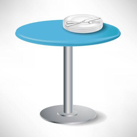 einfachen blauen runden Tisch mit Porzellan Teller und Messer und Gabel isoliert Vektorgrafik