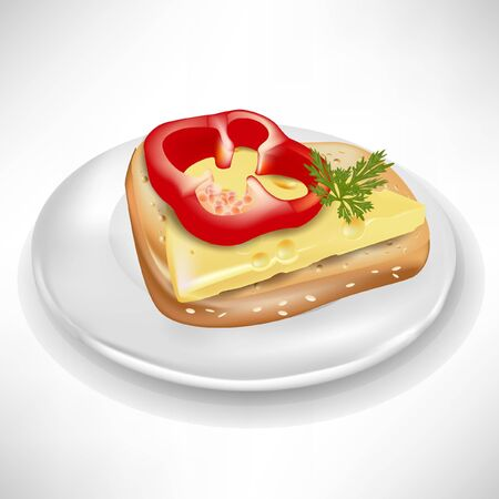 cheese bread: sandwich with pepper and cheese on plate isolated Illustration