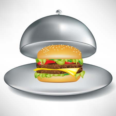 stainless open catering tray with delicious cheese burger isolated Vector