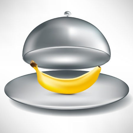 domed tray: open stainless catering tray with single banana isolated
