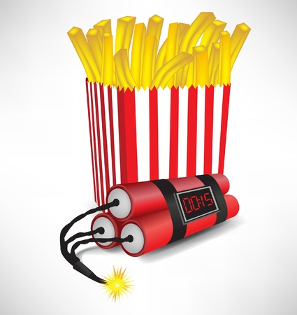explosive: junk food: french fries in cardboard with exploding bomb isolated Illustration