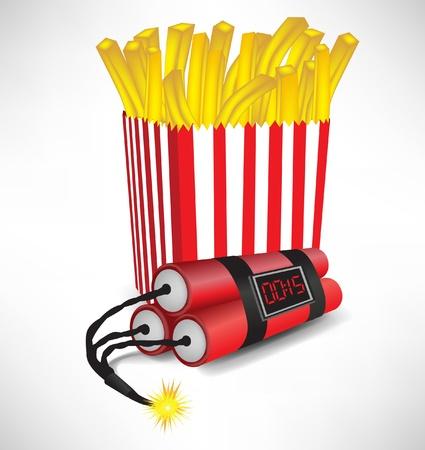 unhealthy: la comida chatarra: papas fritas franc�s en cajas de cart�n con bomba que estalla aislado Vectores