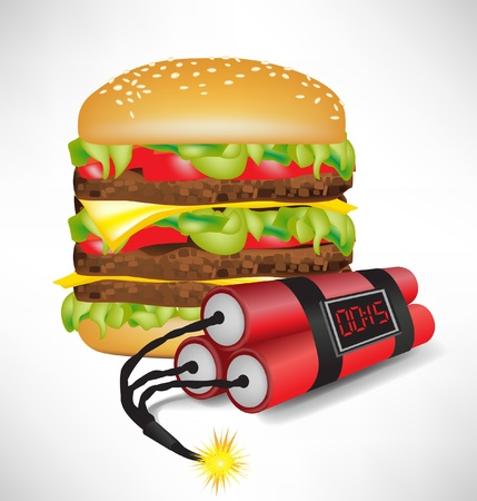 burger bun: junk food: big burger with exploding bomb isolated