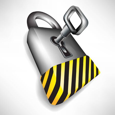 steel door: lock with key and attention black and yellow stripes isolated