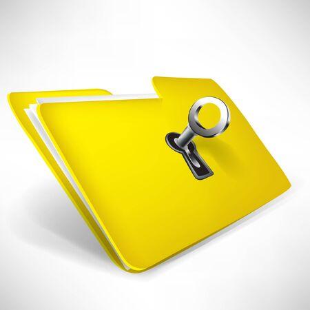 reservacion: carpeta vac�a de color amarillo con clave aislado en blanco