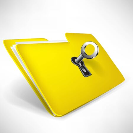 safe lock: empty yellow folder with key isolated on white