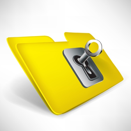 unauthorized: empty yellow folder with key isolated on white