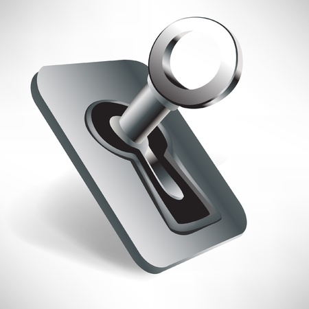 keys isolated: llave de acero listo para abrir en el ojo de la cerradura aisladas sobre fondo blanco Vectores