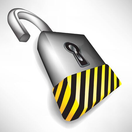 open lock with attention black and yellow stripes isolated on white Stock Vector - 10888277