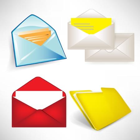 filing tray: envelops and folder set isolated on white
