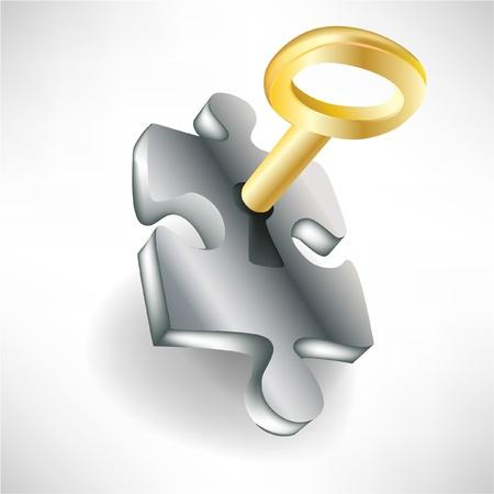 llaves: rompecabezas y llave de oro aisladas sobre fondo blanco Vectores