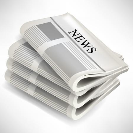 흰색 배경에 고립 된 4 개의 신문 더미