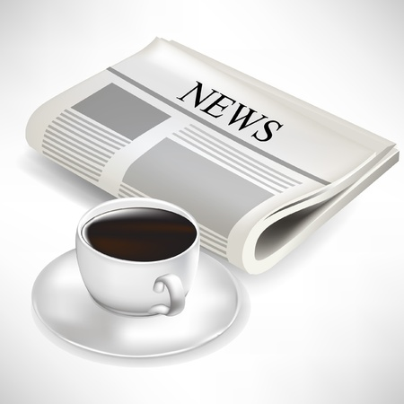 news event: newspaper and coffee cup isolated on white background