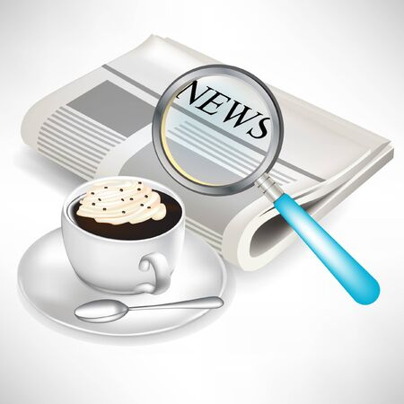 press news: newspaper with magnifying glass and coffee with cream isolated