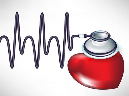 electrocardiograma: latidos del corazón y el estetoscopio aislados en blanco