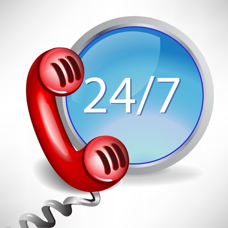 telephone line: all day customer support call center icon isolated on white