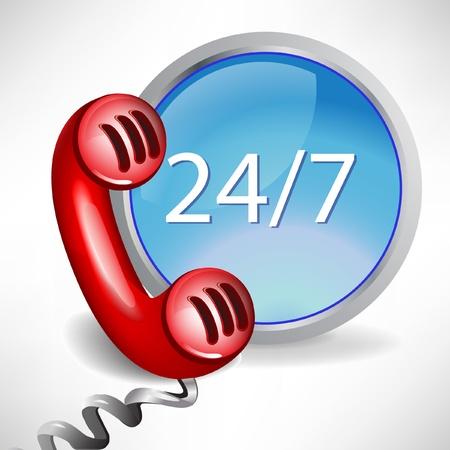 tutto il giorno Centro assistenza clienti icona della chiamata isolato su bianco
