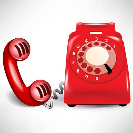 red retro dial telephone and receiver isolated on white Stock Vector - 10888382