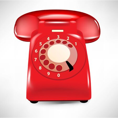 old phone: retro dial style red house telephone isolated on white
