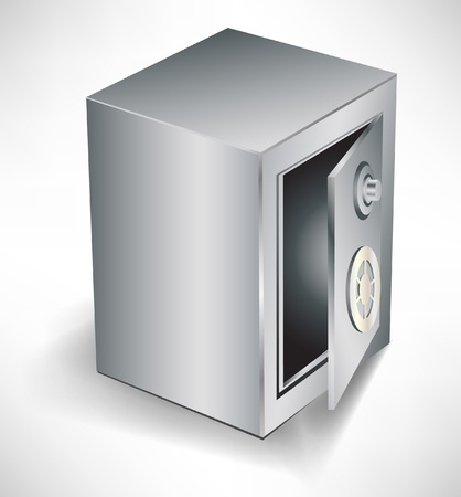 safe deposit box: open empty safe isolated on white background Illustration