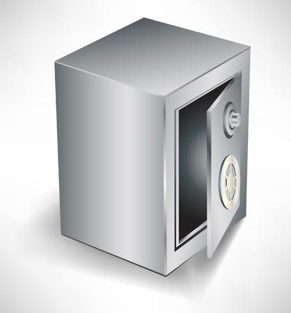 safety box: open empty safe isolated on white background Illustration