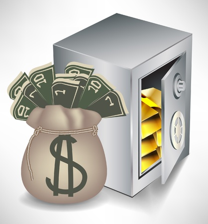 safe deposit box: bag of money and safe with gold isolated Illustration