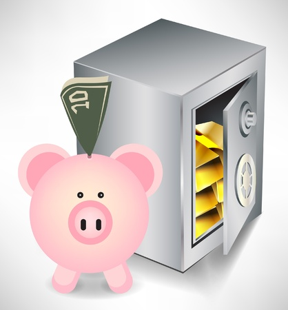 pig iron: pig bank with money and safe with gold isolated