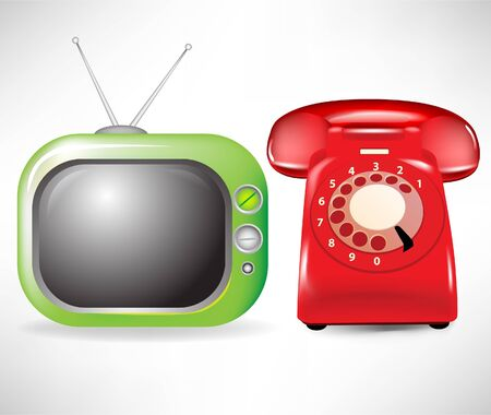 retro television and phone isolated on white