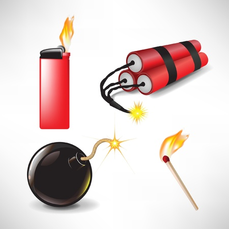munition: flammable icons: bomb lighter with flame, match and dynamite isolated