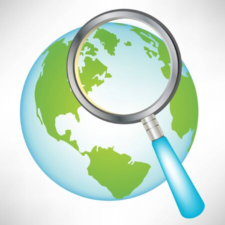 url web: earth globe with magnifying glass isolated